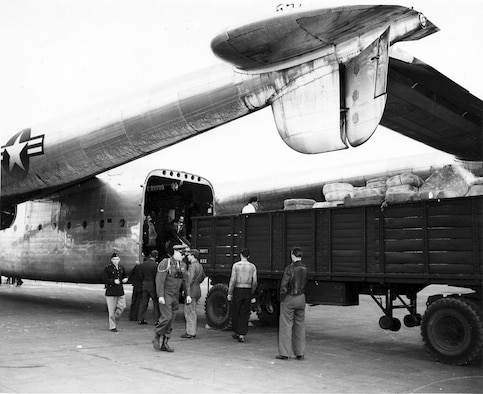 This C-82, shown here with its clamshell doors removed, assisted in the Berlin Airlift. (U.S. Air Force photo)