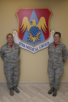 Capts. Linda Clarkson and Michelle Trujillo saved a 9-year-old boy over the Labor Day weekend Sept. 6, 2015 at Lost Valley Lake Resort in Owensville, Mo. The two nurses, at Scott Air Force Base 375th Medical Group, reacted quickly when they noticed the boy was blue and unresponsive, saving the child's life. (U.S. Air Force photo/Airman 1st Class Kiana Brothers)
