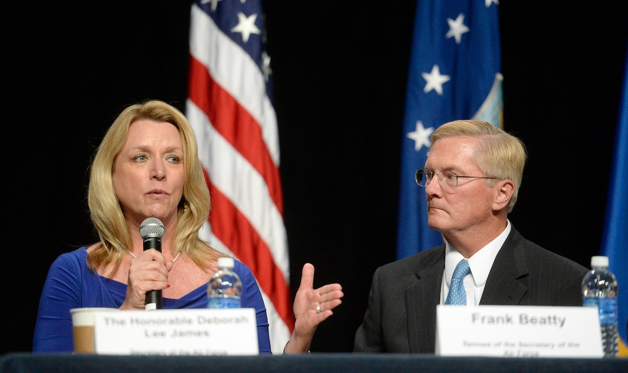 Secretary of the Air Force Deborah Lee James and her husband, Frank Beatty, talk about family issues during an Airman and Family Programs Senior Leader Town hall, during the Air Force Association's Air and Space Conference and Technology Exposition in Washington, D.C., Sept. 14, 2015. (U.S. Air Force photo/Scott M. Ash)