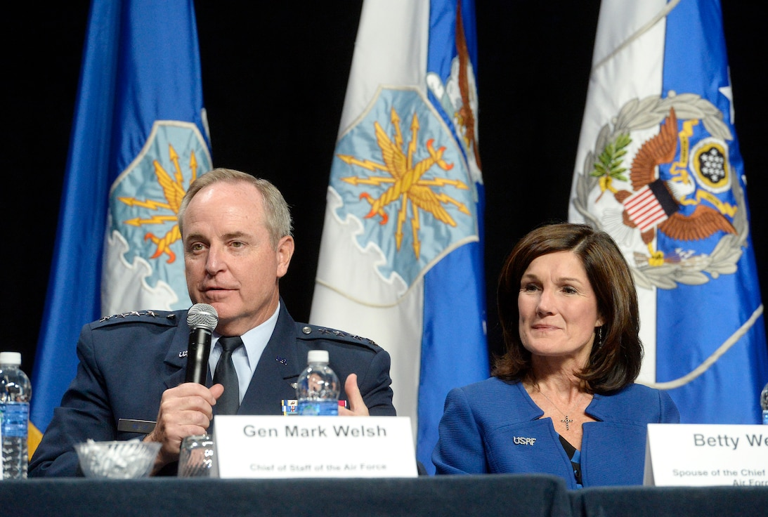 Air Force Chief of Staff Gen. Mark A. Welsh III and his wife, Betty, talk about family issues during an Airman and Family Programs senior leader town hall, during the Air Force Association's Air and Space Conference and Technology Exposition in Washington, D.C., Sept. 14, 2015. (U.S. Air Force photo/Scott M. Ash)