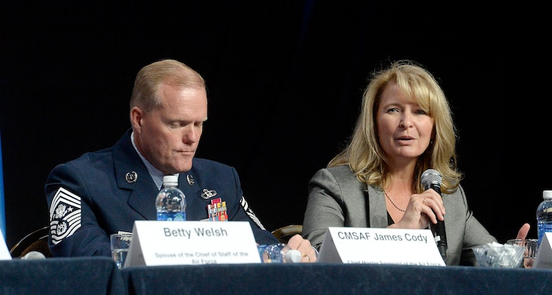 Chief Master Sgt. of the Air Force James A. Cody and his wife, Athena, talk about family issues during an Airman and Family Programs senior leader town hall, during the Air Force Association's Air and Space Conference and Technology Exposition in Washington, D.C., Sept. 14, 2015. (U.S. Air Force photo/Scott M. Ash)