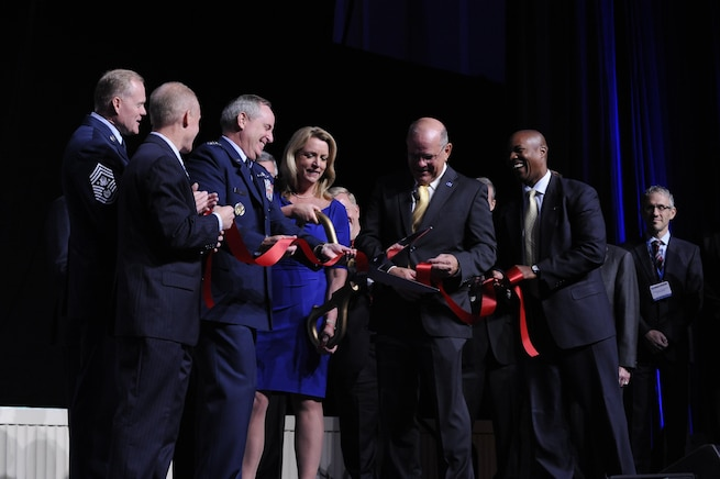 Senior Air Force leaders cut a ribbon during the Air Force Association's Air and Space Conference and Technology Exposition in Washington, D.C. on Sept. 14, 2015. The ribbon cutting ceremony kicked off of the conference and opening of the exhibit hall. (Air Force photo/Staff Sgt. Whitney Stanfield)