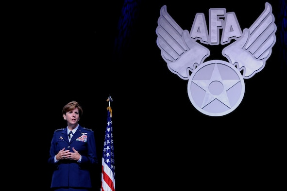 Gen. Lori Robinson, the Pacific Air Forces commander, speaks to attendees during the Air Force Association's Air and Space Conference and Technology Exposition in Washington, D.C., Sept. 14, 2015. Robinson stressed the importance of building partnerships to enhance stability in the Pacific. (U.S. Air Force photo/Staff Sgt. Whitney Stanfield)