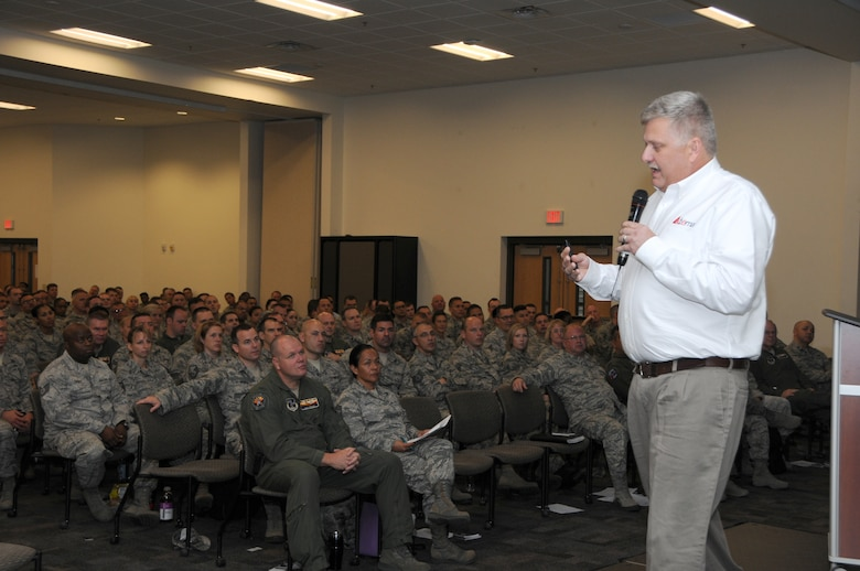 Tim Neubauer, safety director at Atema Inc., briefs Guardsmen from the 161st Air Refueling Wing, in Phoenix as part of the wing's Resilience, Risk Reduction and Suicide Prevention down day during September's unit training assembly, Sept. 12, 2015. Neubauer is a safety professional with more than 15 years of field experience and was a senior consultant for the National Safety Council. The R3SP program's primary mission is to ensure Guardsmen are properly trained in resilience and suicide prevention skills. (U.S. Air National Guard photo by Tech. Sgt. Michael Matkin)