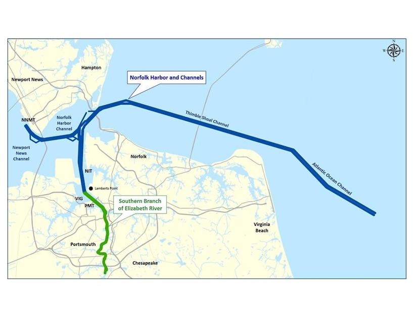 Norfolk Harbor and Channel-Elizabeth River Southern Branch Dredging Map