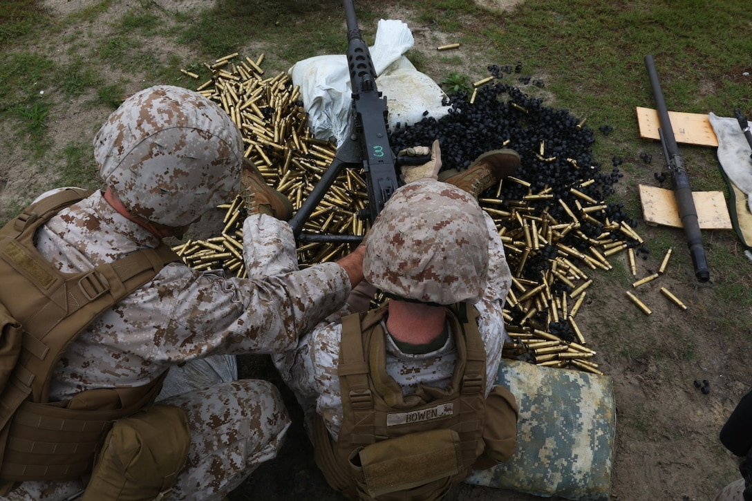 Lt. Col. Jeremy S. Winters, left, and Gunnery Sgt. Clifford Bowen reload a Browning M2 .50-caliber machine gun during a weapons familiarization range at Marine Corps Base Camp Lejeune, North Carolina, Aug. 27, 2015. More than 100 Marines from Marine Air Support Squadron 1 honed their weapons skills with the M240B machinegun, Browning M2 .50 caliber machine gun and the M1014 combat shotgun. Marines from various military job occupations received hands-on experience that allows them to improve crucial skills and become well-rounded war fighters. (U.S. Marine Corps photo by Cpl. N.W. Huertas/ Released)