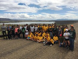 COCHITI LAKE, N.M. – Sept. 5, 2015, 57 students and 11 advisors from West Mesa High School's JROTC (Albuquerque, N.M.) built 2,600 feet of hiking trail at the project, connecting the Visitors Center with the swim beach. The project used existing two-track roads and converted them to a useable trail without unnecessarily degrading surrounding natural resources.