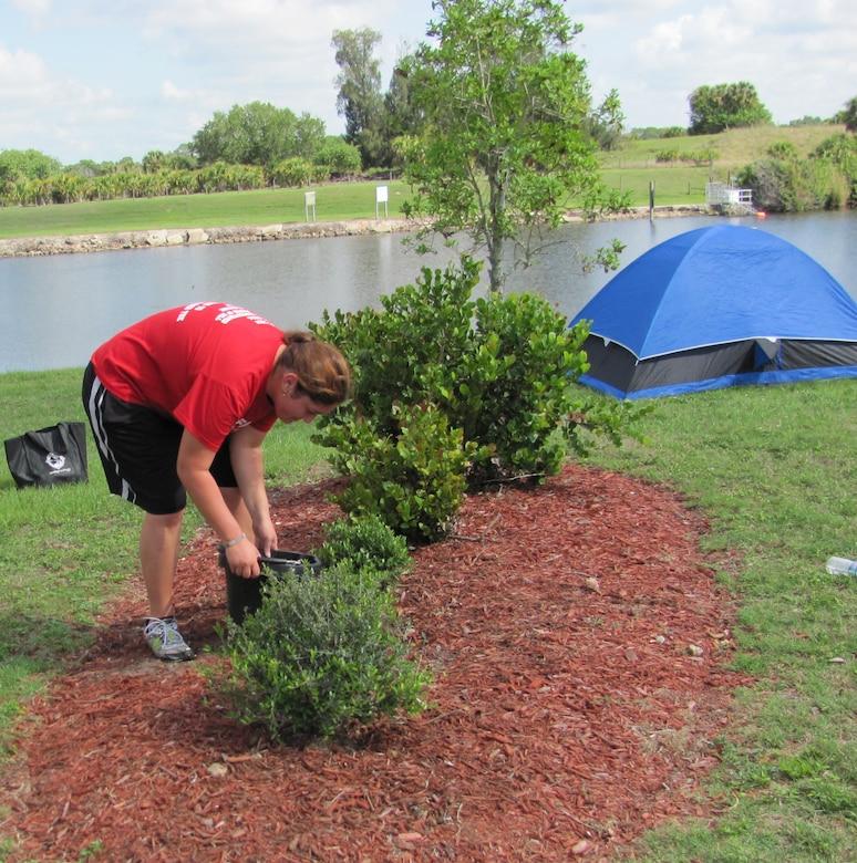 Volunteer plants shrubs at W.P. Franklin Lock Recreation Area