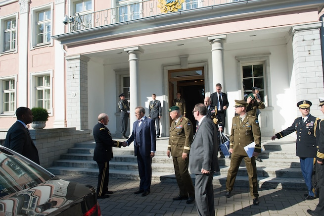 U.S. Army Gen. Martin E. Dempsey, chairman of the Joint Chiefs of Staff, shakes hands with Estonian President Toomas Hendrik Ilves at the Estonian presidential palace in Tallinn, Estonia, Sept. 15, 2015. DoD photo by D. Myles Cullen