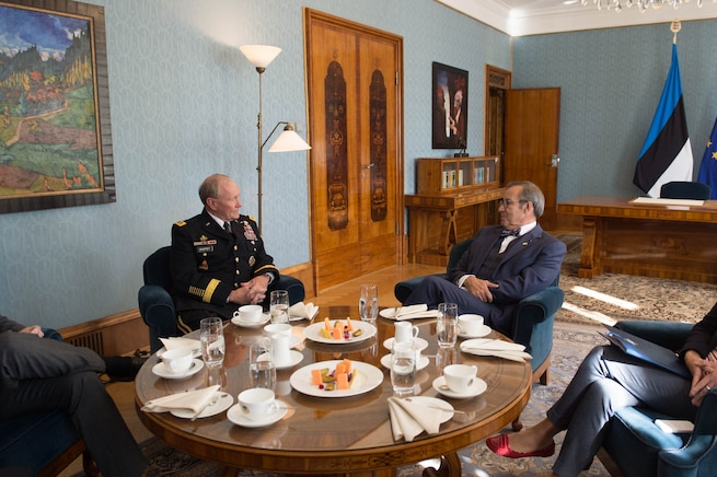U.S. Army Gen. Martin E. Dempsey, left, chairman of the Joint Chiefs of Staff, talks with Estonian President Toomas Hendrik Ilves at the Estonian presidential palace in Tallinn, Estonia, Sept. 15, 2015. DoD photo by D. Myles Cullen
