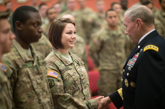 U.S. Army Gen. Martin E. Dempsey, chairman of the Joint Chiefs of Staff, shakes hands with a U.S. soldier at the Estonian 1st Brigade Headquarters in Tapa, Estonia, Sept. 15, 2015. DoD photo by D. Myles Cullen