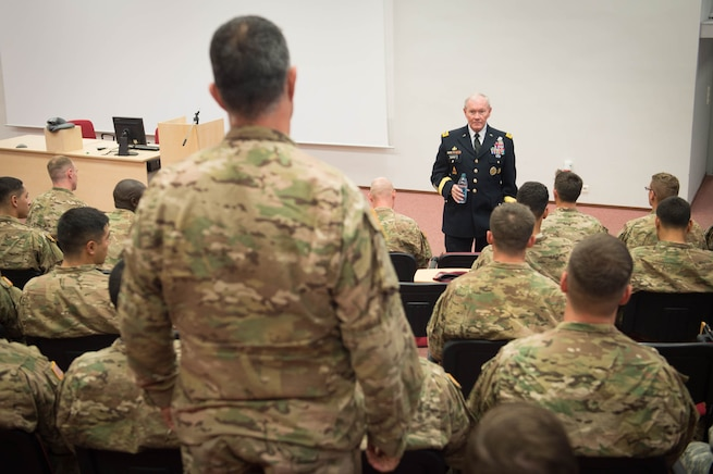 U.S. Army Gen. Martin E. Dempsey, chairman of the Joint Chiefs of Staff, takes a question from a U.S. soldier at the Estonian 1st Brigade Headquarters in Tapa, Estonia, Sept. 15, 2015. DoD photo by D. Myles Cullen