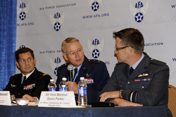 Maj. Gen. John Newell, director of strategy, concepts and assessments, deputy chief of staff for strategic plans and requirements, speaks on a panel during the 2015 Air Force Association Air and Space Conference and Technology Exposition in Washington, D.C., Sept. 15, 2015. The trilateral strategic initiative panel discussed each of the countries (U.S., France and the U.K.) consolidated goals on building confidence within each other's capabilities by training together twice a year to meet their objectives. (U.S. Air Force photo/Staff Sgt. Whitney Stanfield)