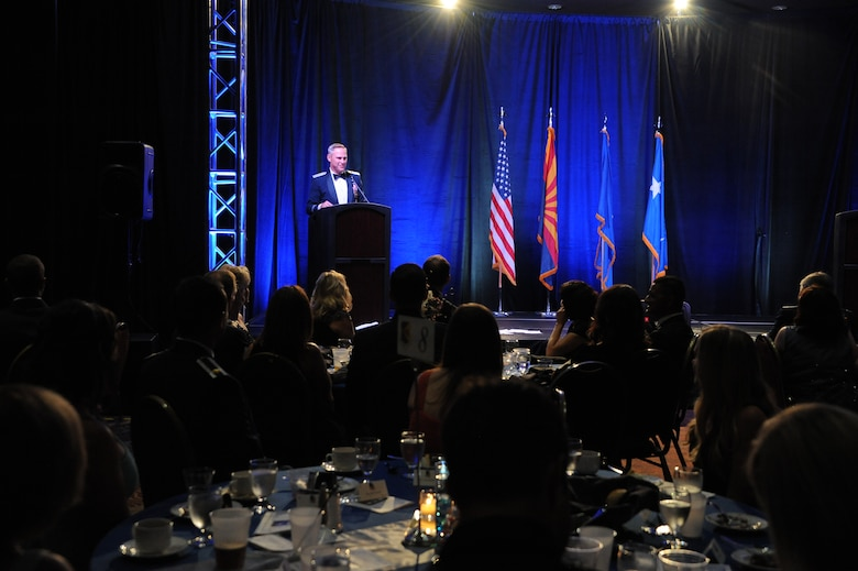 U.S. Air Force Lt. Gen. Chris Nowland, 12th Air Force (Air Forces Southern) commander, delivers a speech during the Air Force Ball held at the Tucson Convention Center, in Tucson, Ariz., Sept. 12, 2015. More than 750 guests attended the Air Force Ball to celebrate Air Force heritage and history. (U.S. Air Force photo by Airman 1st Class Ashley N. Steffen/Released)
