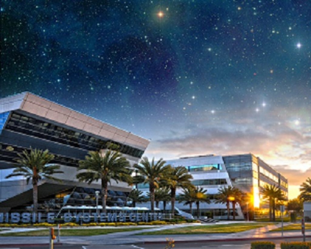 Space and Missile Systems Center at Los Angeles Air Force base in El Segundo, Calif. with star field superimposed