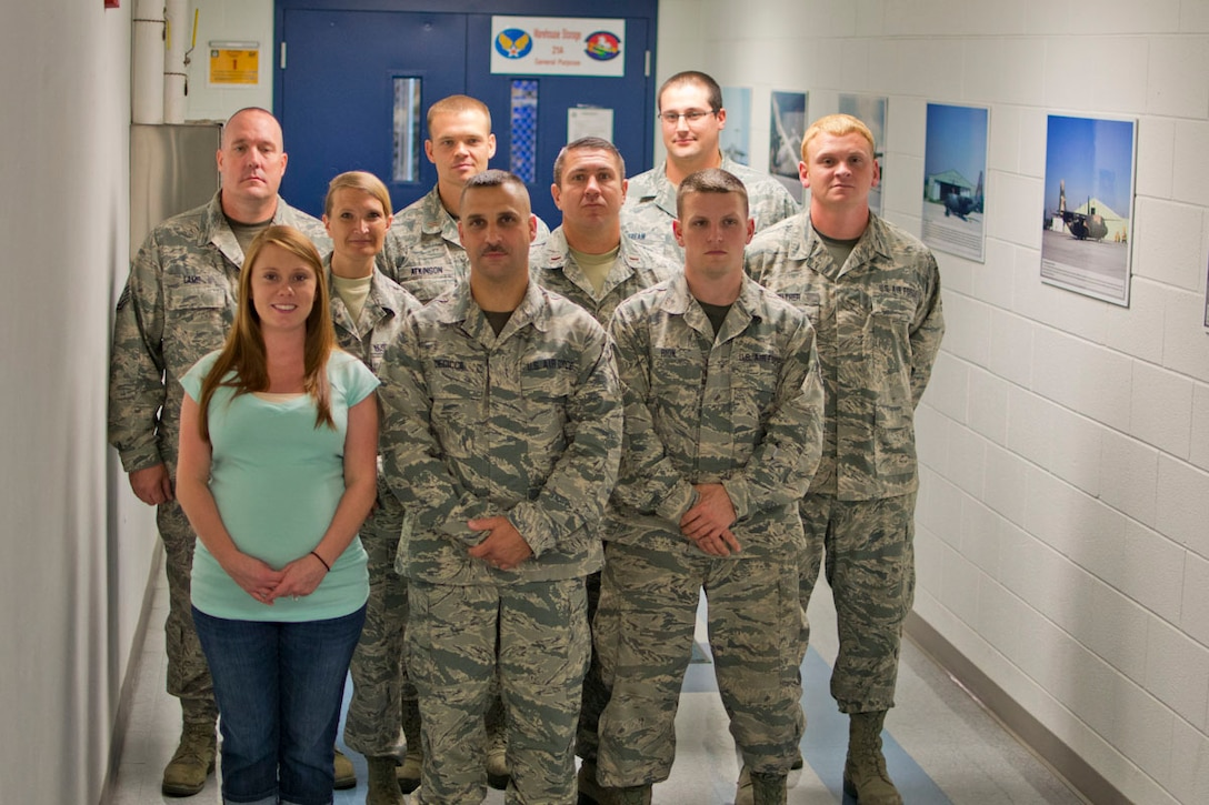 Graduates of the Logistics Readiness Squadron's Leadership Skills Academy received their completion certificates Saturday of Sept. UTA. The Leaderships Skills Academy is part of LRS's two tier training program geared toward developing the squadron's future leaders. (back row) Master Sgt. Jon Lamp, 2nd Lt. Clayton Atkinson, Staff Sgt. Andrew Fream, (middle row) Staff Sgt. Laura Shaffer, 2nd Lt. Kevin Hurlbrink, Master Sgt. Justin Walther, (front row) Staff Sgt. Chastity Eggleton, Master Sgt. James DeCicco, and Staff Sgt. Chris¬topher Rion. (Air National Guard photo by Tech.  Sgt. Michael Dickson/released)