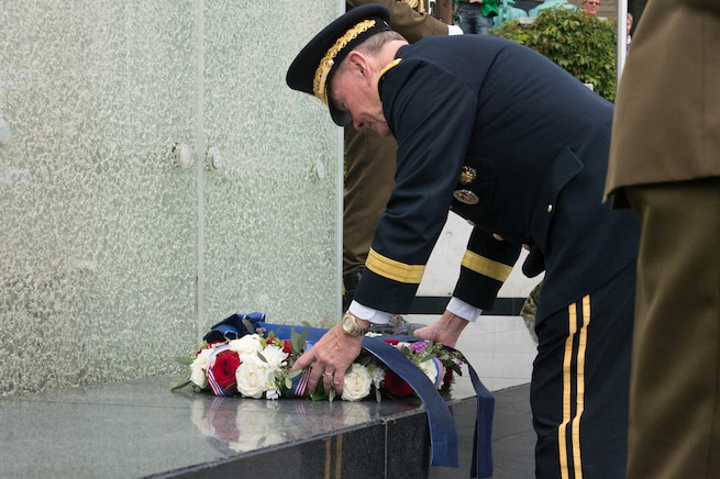 U.S. Army Gen. Martin E. Dempsey, chairman of the Joint Chiefs of Staff, lays a wreath at the War of Independence Victory Column in Tallinn, Estonia, Sept. 14, 2015. The site was opened on June 23, 2009 as a memorial for those who fell during the Estonian War of Independence. DoD photo by D. Myles Cullen