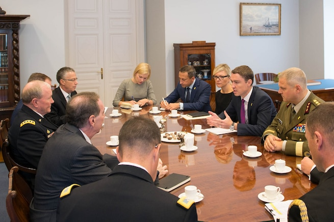Estonian Prime Minister Taavi Roivas leads a meeting with U.S. Army Gen. Martin E. Dempsey, chairman of the Joint Chiefs of Staff, in Tallinn, Estonia, Sept. 14, 2015. DoD photo by D. Myles Cullen