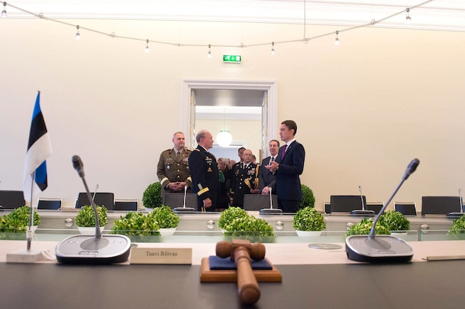Estonian Prime Minister, Taavi Roivas, right, and U.S. Army Gen. Martin E. Dempsey, chairman of the Joint Chiefs of Staff, talk before a meeting in Tallinn, Estonia, Sept. 14, 2015. DoD photo by D. Myles Cullen