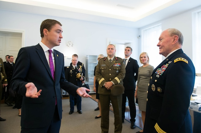Estonian Prime Minister, Taavi Roivas, left, meets with U.S. Army Gen. Martin E. Dempsey, chairman of the Joint Chiefs of Staff, in Tallinn, Estonia, Sept. 14, 2015. DoD photo by D. Myles Cullen