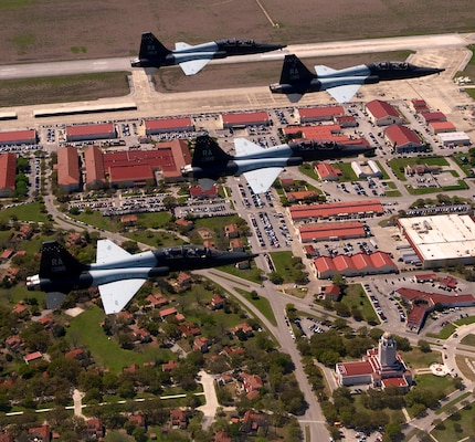 T-38 Talons fly over Joint Base San Antonio-Randolph.