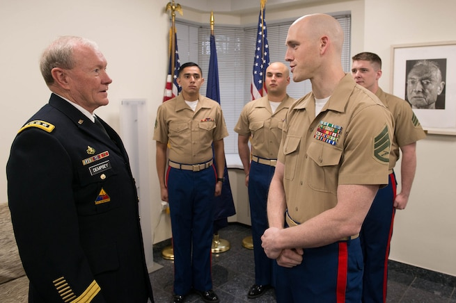 U.S. Army Gen Martin Dempsey, chairman of the Joint Chiefs of Staff, meets with Marines who provide security at the U.S. Embassy in Tallinn, Estonia, Sept 14, 2015.DoD photo by D. Myles Cullen