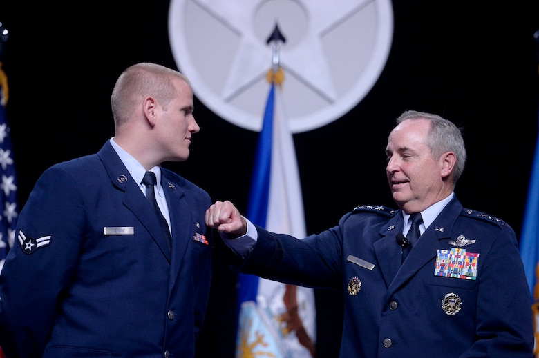 Air Force Chief of Staff Gen. Mark A. Welsh III speaks with Airman 1st Class Spencer Stone during Welsh's Air Force Update address at the Air Force Association's Air and Space Conference and Technology Exposition Sept. 15, 2015, in Washington, D.C. (U.S. Air Force photo/Scott M. Ash)