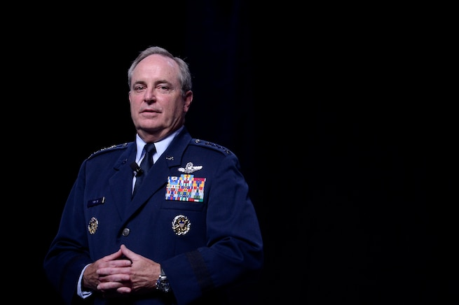 Air Force Chief of Staff Gen. Mark A. Welsh III makes his Air Force Update address at the Air Force Association's Air and Space Conference and Technology Exposition Sept. 15, 2015, in Washington, D.C. (U.S. Air Force photo/Scott M. Ash)