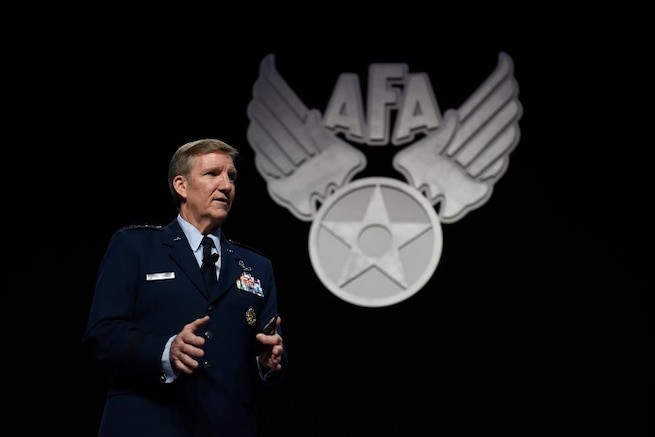 Gen. Hawk Carlisle, the Air Combat Command commander, talks about the 5th generation warfare during the Air Force Association Air and Space Conference and Technology Exposition in Washington, D.C., Sept. 15, 2015. The AFA conference brought together Air Force leadership, industry experts, scholars and current aerospace specialists from around the world to discuss the issues and challenges facing the U.S. and the aerospace community today.  (Air Force photo /Tech. Sgt. Dan DeCook)