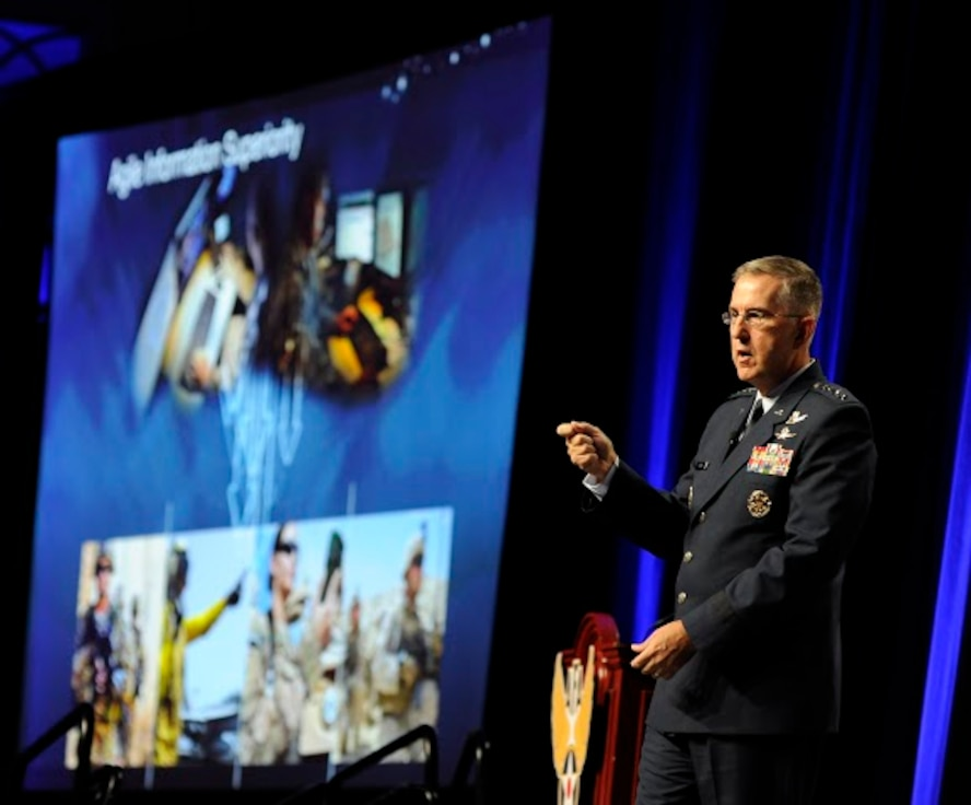 Gen. John Hyten, the Air Force Space Command commander, stresses the importance of agile information superiority during the Air Force Association Air and Space Conference and Technology Exposition in Washington, D.C., Sept. 15, 2015. (Air Force photo/Staff Sgt. Whitney Stanfield)