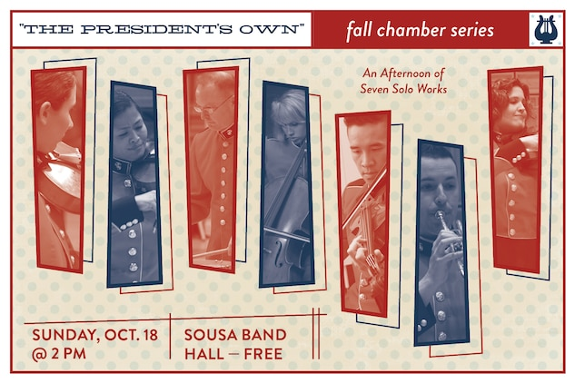 "Sunday, Oct. 18 at 2 p.m. (EDT) - Coordinated by cellist Staff Sgt. Charlaine Prescott, the program will feature seven musicians from ""The President's Own"" performing 20th and 21st century solo works. The concert, which is free, will take place at John Philip Sousa Band Hall at the Marine Barracks Annex, located at 7th & K Streets, SE, Washington, DC. Free parking is available. The concert will also stream live on the Marine Band website."