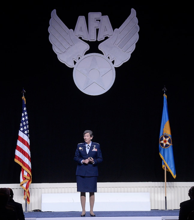 Gen. Ellen M. Pawlikowski, the commander of the Air Force Materiel Command, speaks about her command's flexibility and how it directly impacts the total force's operations and strategic agility at the Air Force Association Air and Space Conference and Technology Exposition Sept. 15, 2015, in Washington, D.C.  (Air Force photo/Scott M. Ash)