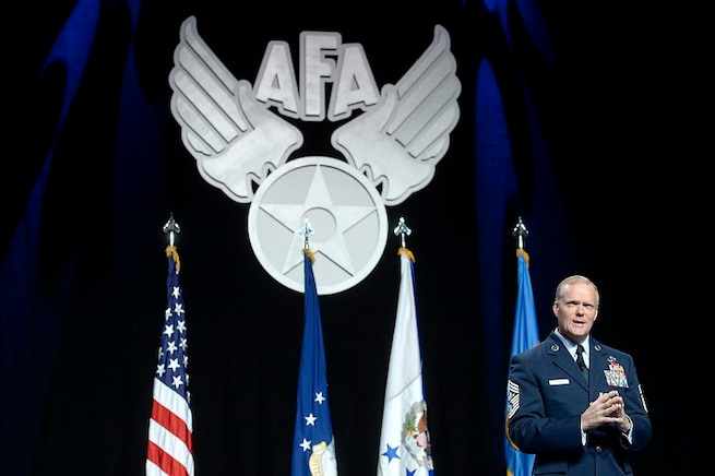 Chief Master Sgt. of the Air Force James A. Cody gives his Enlisted Force Update at the Air Force Association's Air and Space Conference and Technology Exposition Sept. 16, 2015, in Washington, D.C. (U.S. Air Force photo/Scott M. Ash)