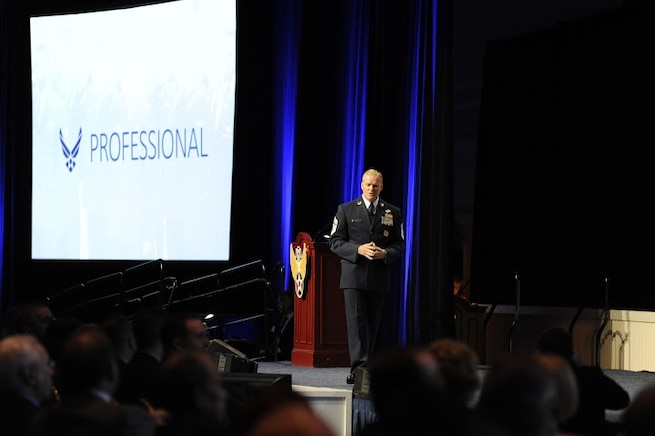 Chief Master Sgt. of the Air Force James A. Cody gives his Enlisted Force Update at the Air Force Association's Air and Space Conference and Technology Exposition Sept. 16, 2015, in Washington, D.C.(U.S. Air Force photo/Staff Sgt. Whitney Stanfield)