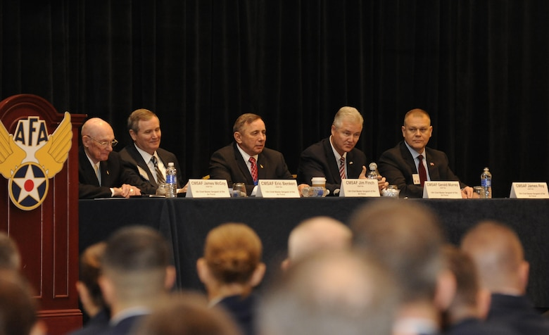 Five former chief master sergeants of the Air Force took the stage to share perspectives and stories about how they have inspired and been inspired by the modern Air Force during the Air Force Association's Air and Space Conference and Technology Exposition in Washington D.C., Sept. 16. The former chiefs answered question from the audience that ranged from resilient Airmen, education, commissioning and encouraging your wingman. (Air Force photo/Staff Sgt. Whitney Stanfield)