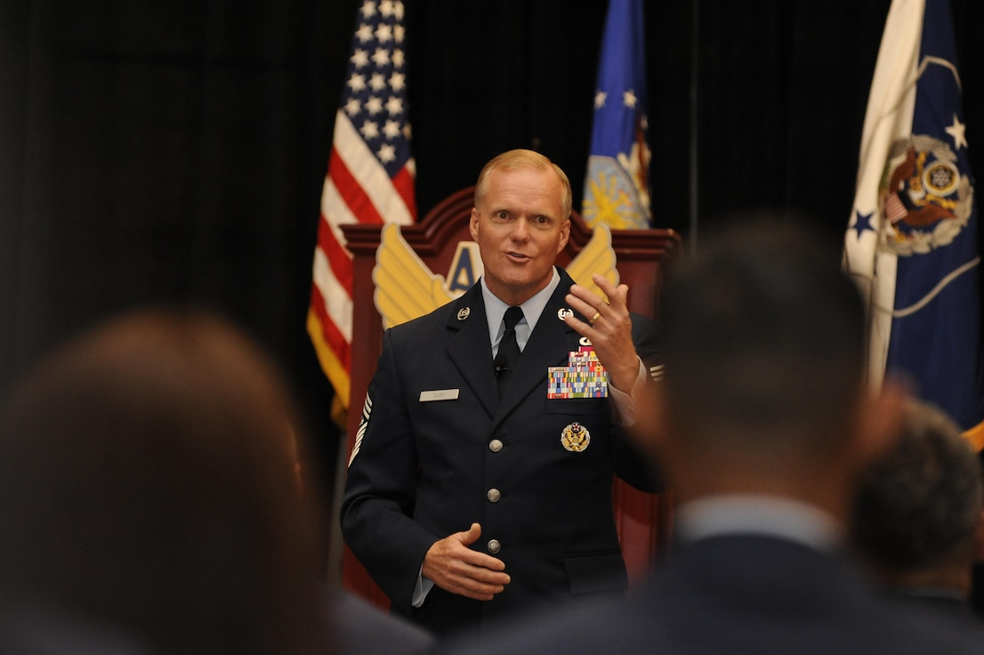 Chief Master Sgt. of the Air Force James A. Cody invites Airmen to ask him questions during the Air Force Association Air and Space Conference and Technology Exposition in Washington, D.C., Sept. 16, 2015. The conference brings together Air Force leadership, industry experts, academia and current aerospace specialists from around the world to discuss the issues and challenges facing America and the aerospace community today. (Air Force photo/Staff Sgt. Whitney Stanfield)