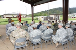 Brig. Gen. Jeffrey L. Milhorn, Commander Pacific Ocean Division, U.S. Army Corps of Engineers speaks to Soldiers and guests during the Ribbon Cutting Ceremony for the South Range Road Project area.