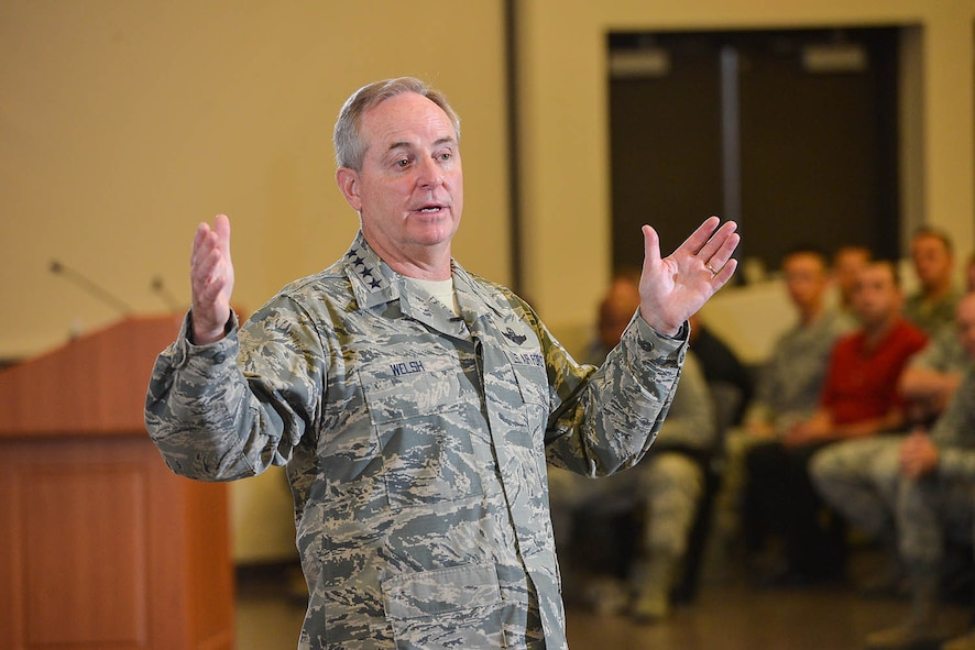 General Mark A. Welsh III, United States Air Force Chief of Staff, addresses members of the 24th and 25th Air Forces at the Pfingston Basic Military Training Center, and praises their work in the cyber and intelligence, surveillance and reconnaissance domains. (U.S. Air Force photo by William B. Belcher/Released)