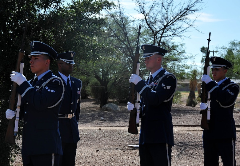 The Davis-Monthan Air Force Base Honor Guard prepare to fire shots during a rifle salute at the memorial ceremony that honored the 15 men who died in the CH-3E Jolly Green Giant helicopter crash on March 12, 1989 during a nighttime mission. Airmen past and from the 943rd Rescue Group paid tribute to the men who lost their lives on PONY 1-2 in a remote desert region 20 miles northwest of Tucson. (U.S. Air Force Photo/ Tech. Sgt. Carolyn Herrick)