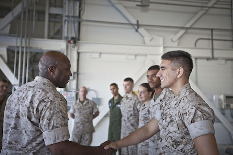 The 18th Sergeant Major of the Marine Corps, Ronald L. Green, visits U.S. Marines assigned to Marine Corps Air Station Beaufort, SC., September 14, 2015. Sgt.Maj Green's visit to the base included a luch with Non-Commissioned Officers, tours of the squadrons aboard the base, and a meet and greet with Staff NCOs. (U.S. Marine Corps photo by Sgt. Melissa Marnell, Office of the 18th Sergeant Major of the Marine Corps/Released)
