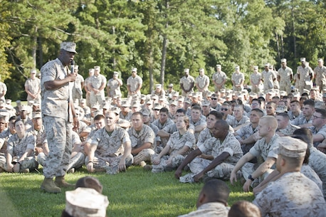 The 18th Sergeant Major of the Marine Corps, Ronald L. Green, visits U.S. Marines assigned to Marine Corps Air Station Cherry Point, NC, September 15, 2015. (U.S. Marine Corps photo by Sgt. Melissa Marnell, Office of the 18th Sergeant Major of the Marine Corps/Released)