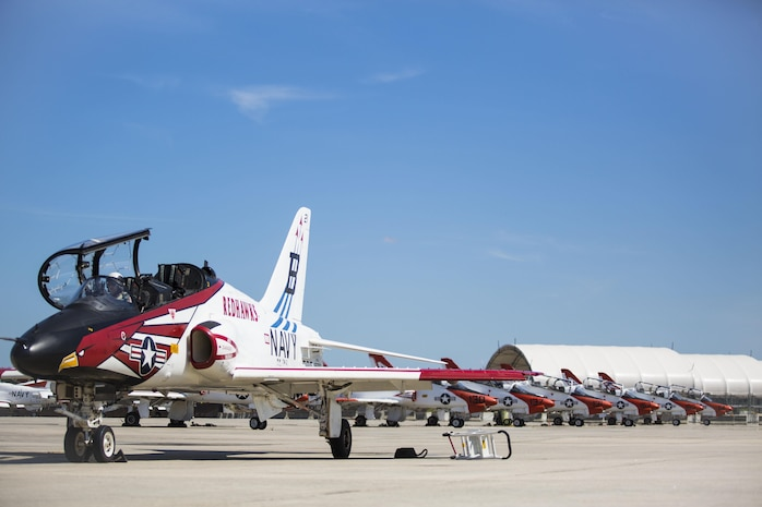 T-45 Goshawks rest aboard Marine Corps Air Station Beaufort as part of the advanced course of the Student Naval Aviator strike pilot training program Sept. 15.  The Goshawk is a fully carrier-capable version of the British Aerospace Hawk Mk-60. It was developed as a jet flight trainer for the Navy and Marine Corps. The T-45s are with Training Air Wing 1 from Naval Air Station Meridian, Miss. and TRAWING-2 from NAS Kingsville, Texas. The TRAWINGs chose MCAS Beaufort as an alternate training site due to its accomodations and facilities for jet aircraft.