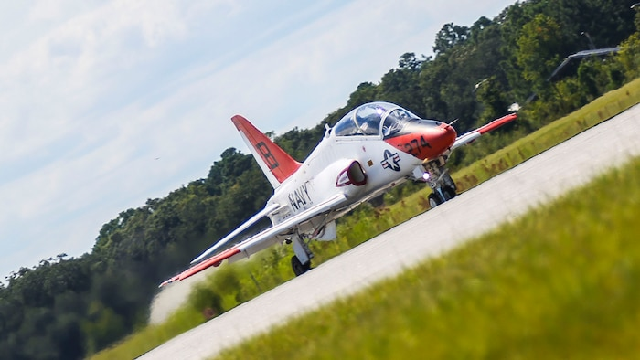 A T-45 Goshawk takes off during a scheduled training flight as part of the advanced course of the Student Naval Aviator strike pilot training program aboard Marine Corps Air Station Beaufort Sept. 15.  the T-45 is used by the Navy as an aircraft carrier-capable trainer. It was developed as a jet flight trainer for the Navy and Marine Corps. The T-45s are with Training Air Wing 1 from Naval Air Station Meridian, Miss. and TRAWING-2 from NAS Kingsville, Texas.