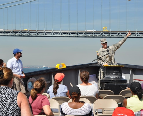 Col. David Caldwell, the Army Corps' New York District Commander on the bow of the MV Hayward addresses partners during a Harbor Inspection. The Harbor Inspection conducted Sept. 16, 2015 provided an opportunity to highlight past success.  Attendees discussed successes, ongoing efforts and methods to continue to partner in the future.