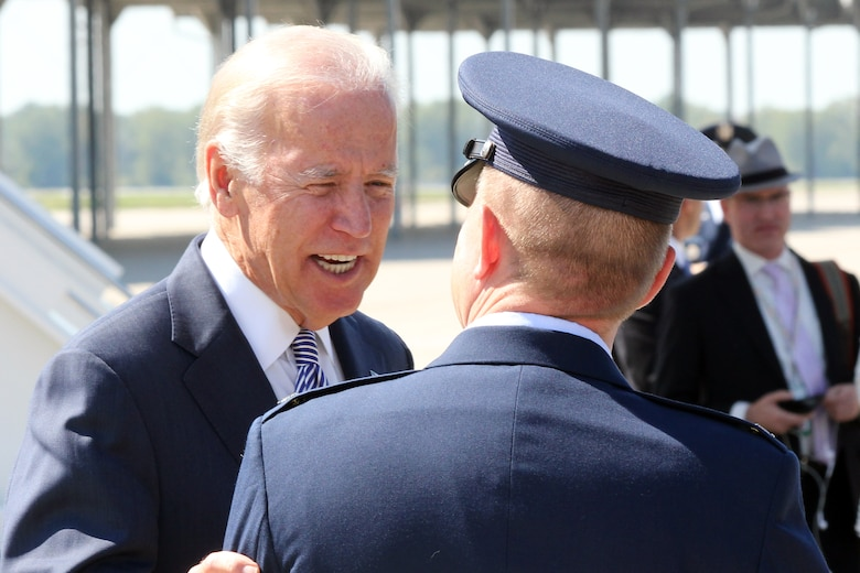 Vice President Joe Biden talks with Col. Rolf Mammen, 127th Wing vice commander, moments after landing at Selfridge Air National Guard Base, Mich., in Air Force Two Sept. 17, 2015. The vice president spoke at a mass transit event later in the day in Detroit. Biden's visit came just a week after a visit to Selfridge by President Barack Obama and two weeks after a seven member Congressional delegation toured the base. (U.S. Air National Guard photo by Tech. Sgt. Dan Heaton)