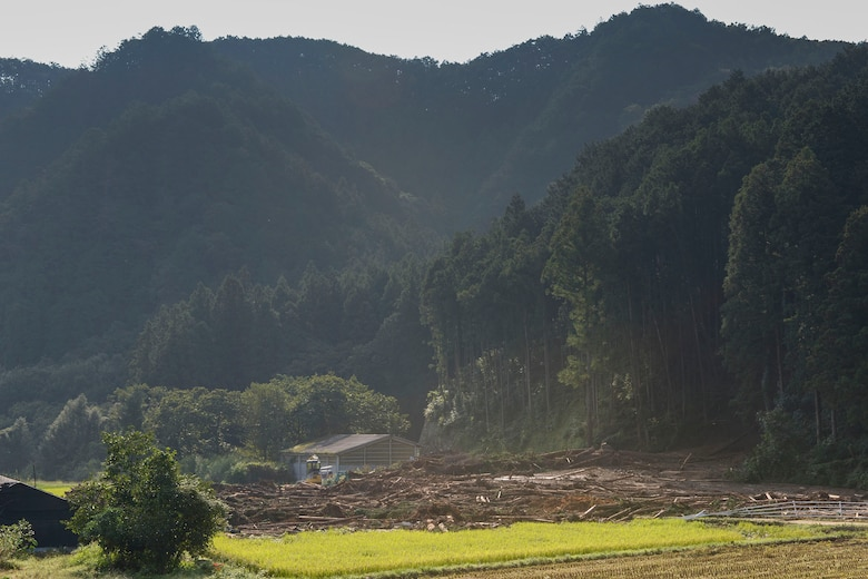 Destruction left behind from a landslide covers a local farmer's property at Kanuma City, Tochigi prefecture, Japan, Sept. 15, 2015. After 10 consecutive days of rain, flooding and landslides damaged public and personal property throughout the prefecture. (U.S. Air Force photo by Staff Sgt. Cody H. Ramirez/Released)