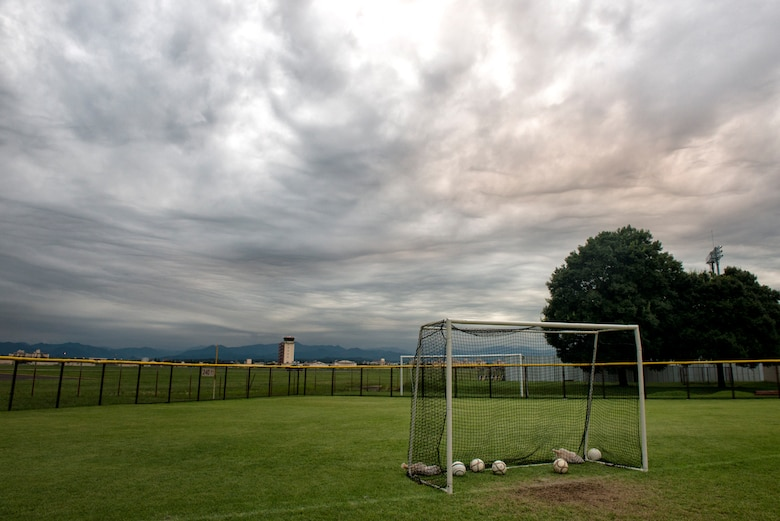 A goal post sits on Friendship Field at Yokota Air Base, Japan, Sept. 15, 2015. The field is home to Yokota's Youth Soccer Program. (U.S. Air Force photo by Airman 1st Class Delano Scott/Released)