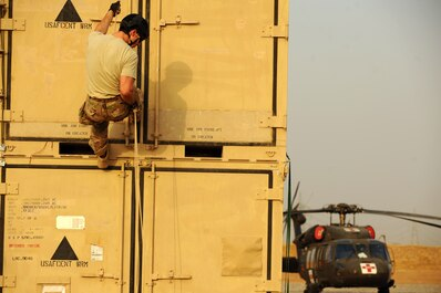 A U.S. Air Force pararescueman sharpens his rappelling skills at an undisclosed location in Iraq, Sept. 16, 2015. The pararescueman is deployed in support of Operation Inherent Resolve to conduct rescue and recovery operations in the area of responsibility. (U.S. Air Force photo/Tech. Sgt. Brittany E. Jones)
