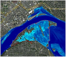 Levee breach simulated in a HEC-RAS model