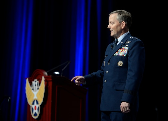 Air Force Assistant Vice Chief of Staff Lt. Gen. John W. Hesterman III answers questions during Air Force Association's Air and Space Conference and Technology Exposition, in Washington, D.C., Sept. 16, 2016.  During his comments, he focused on Airman performing operations related to Iraq and Syria.  (U.S. Air Force photo/Tech. Sgt. Joshua L. DeMotts)
